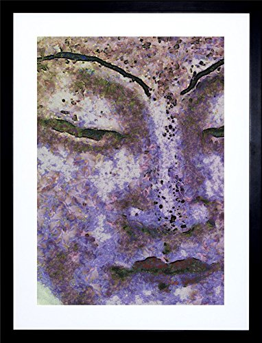 9x7 INCH PAINTING PORTRAIT IMPRESSION GAUTAMA BUDDHA STATUE PURPLE HAZE FRAMED WALL ART PRINT PICTURE PAINTING WOODEN PHOTO FRAME BLACK WHITE OAK BROWN F97X719 Purple Haze Framed
