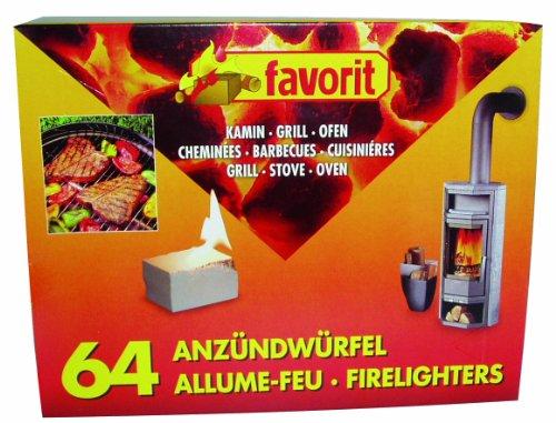 favorit 1249 Anzündwürfel für Grill, Kamin und Ofen, 64-er Pack