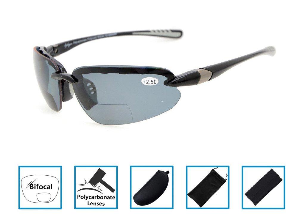 e6c8f40fbb5f Gr8Sight Bifocal Reading Sunglasses Half-Rimless Frame Sun Readers Tinted Glasses  Mens Womens Wraparound Designer Style Sports Black Frame Grey Lens +1.0