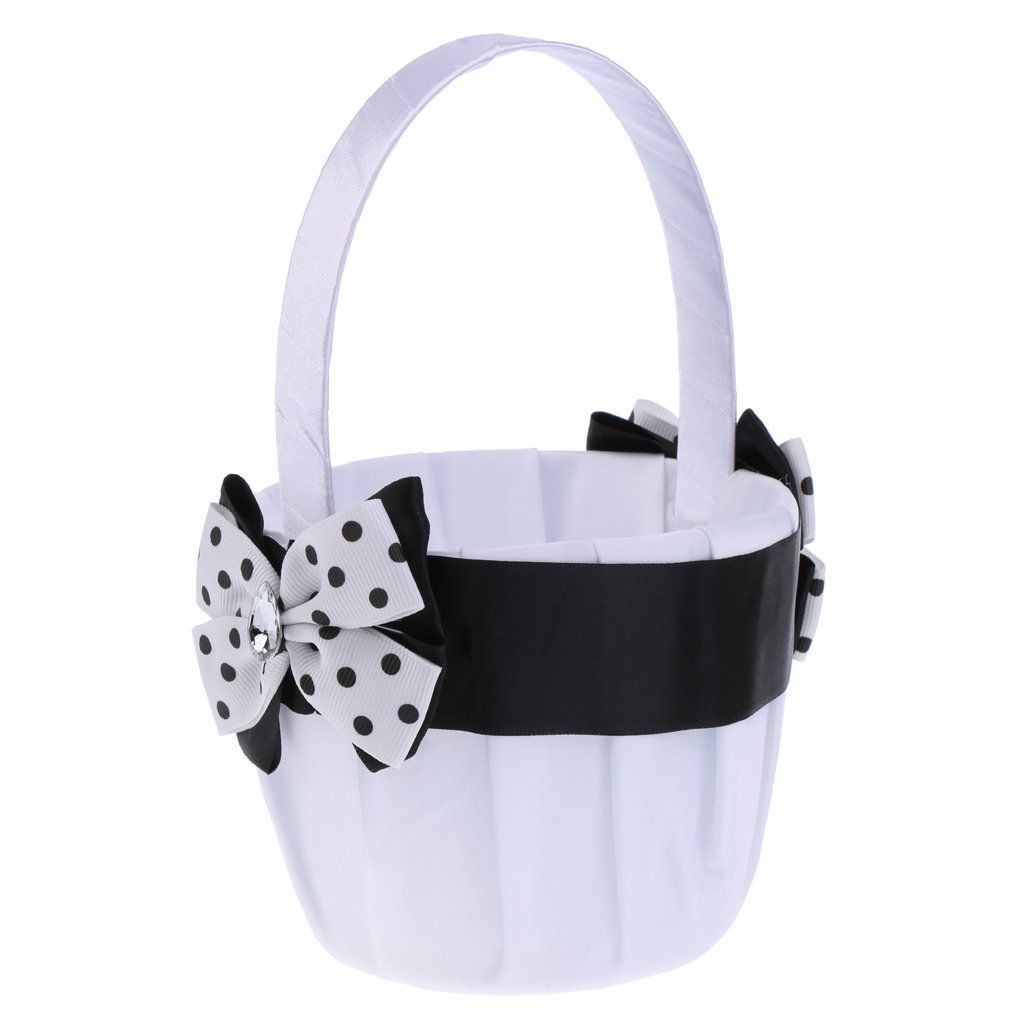 Amazon Dovewill Luxury Vintage Black White Satin Round Basket