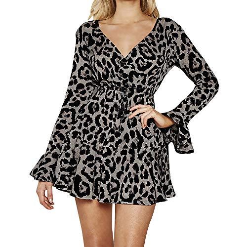 Sexy À Évasée Mini Femme Imprimée Col Elégant Mini robe En V feixiang tunique Manche Pull Noir Mode Léopard Robe Casual KJl3Fu1Tc