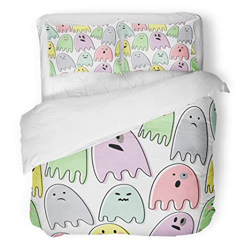 Tinmun 3pcs Duvet Cover Set Queen/Full Size Happy Halloween Pattern Colorful Ghosts on Child Drawing Cute Brushed Microfiber Fabric Bedding Set Cover -