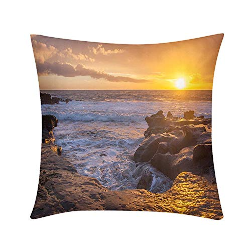 Double Sided Digital Printing Personalized Custom Throw Pillow Laguna Beach Tidepools at Sunset Design for Sofa Bedroom Office Car Decorate Pillow