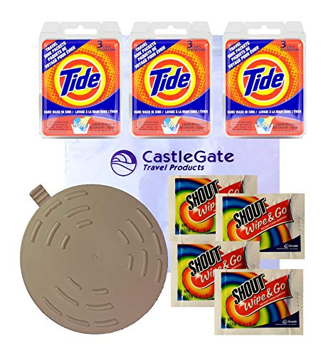 (Travel Laundry Kit with Tide Sink Packs Laundry Detergent, Shout Wipes and Drain Stopper)