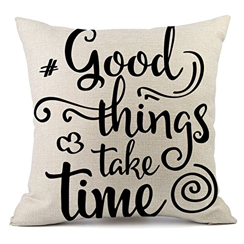 KACOPOL Inspirational Quote Throw Pillow Cover Cotton Linen Home Decor Colorful Letters Pillowcase Cushion Cover with Word for Sofa Square 18x18 Inches (Good Things Take Time) ()