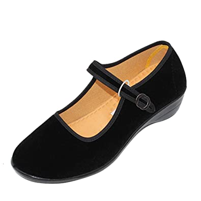 1780ebabc5a uirend Shoes Mary Janes Women - Velvet Shoe Cottton Cloth Flats Yoga  Exercise Dance Traditional Footwear