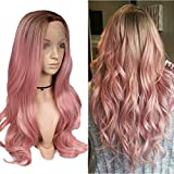 Lady Miranda 28' Ombre Blonde Lace Front Wigs 2 Tone Color Brown Roots Free Part Long Natural Straight Hand Tied Heat Resistant Synthetic Wigs For Women (Brown&Pink)