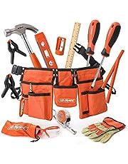 Hi-Spec 16-Delige Oranje Gereedschapsset voor Kinderen met Gereedschapsriem. Echt Metalen Handgereedschap voor Kinderen & Beginners Inclusief Werkhandschoenen, Beschermende Bril & Meer