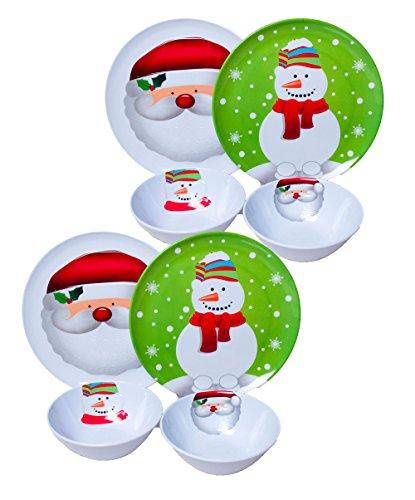 Set of 8 Christmas / Holiday Melamine Embossed 10