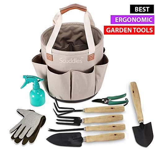 (Scuddles Garden Tools Set - 9 Piece Heavy Duty Gardening Tools with Storage Organizer, Ergonomic Hand Digging Weeder, Rake, Shovel, Trowel, Sprayer, Gloves Gift for Men & Women (Bucket))