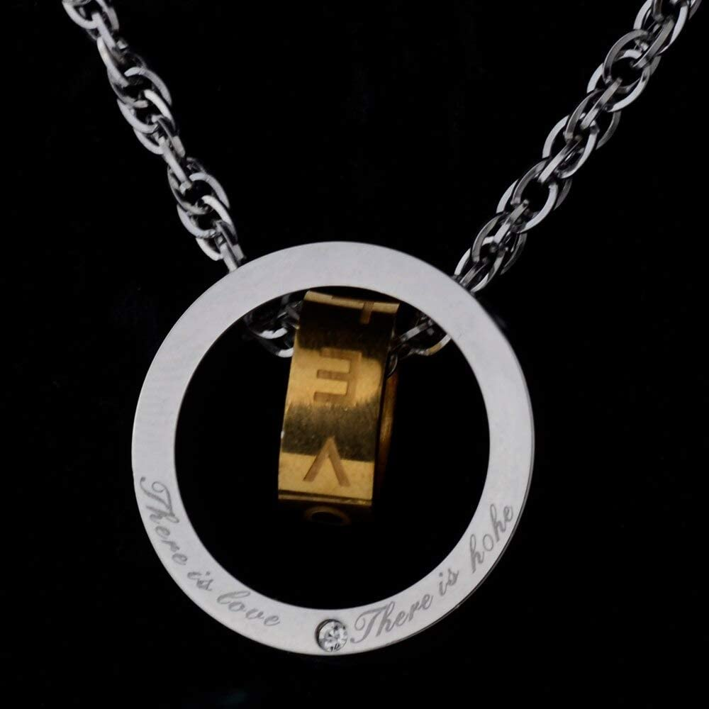 Simple Vintage Round Pendant Necklaces For men Women,Gold Color Carving Words NecklaceLove and Hope,stainless steel jewelry