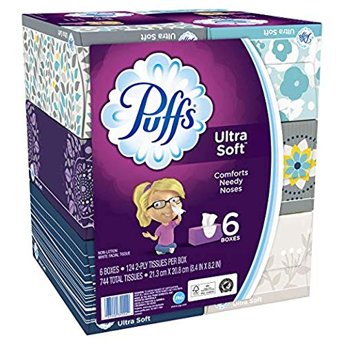 - Puffs Ultra Soft Facial Tissues, 6 Family Boxes, 124 Tissues per Box