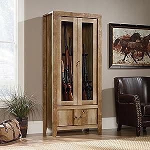 Sauder Dakota Pass Gun Display Cabinet in Craftsman Oak