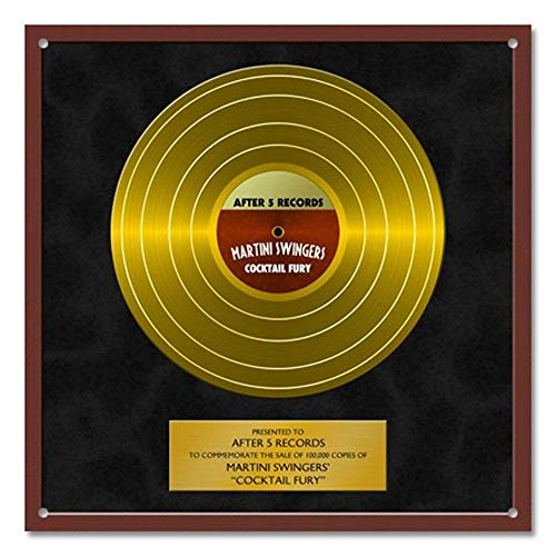 Personalized Gold Record Metal Sign Wall Art Decal Decoration Band Name Records Album Platinum Record Company Music Label Text Music Award (Gold Record)