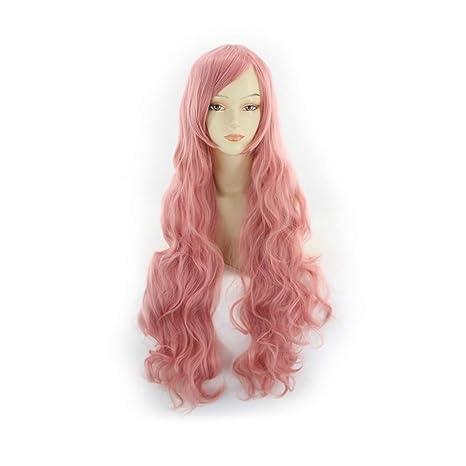 Komfami Cosplay pelucas para mujeres, peluca sintética para el traje de anime (Rosado)