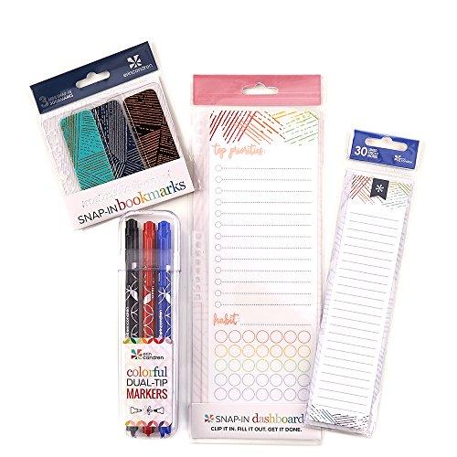 Mini Adhesive Dash Board - Erin Condren Woven Wonder Bundle: Snap-in Dashboard, StylizedStickyTM Notepad, Mini Snap-in Bookmarks, Designer Dual Tip Markers