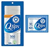 Q-tips Cotton Swabs, 300 ct + Travel Holder Case for a Purse