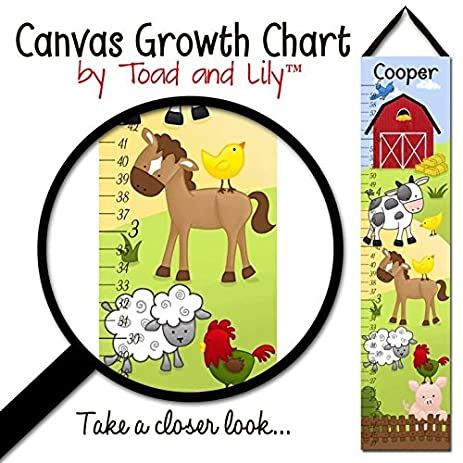 Amazon.com: Canvas GROWTH CHART Farm Animals Cow Horse Sheep Pig ...