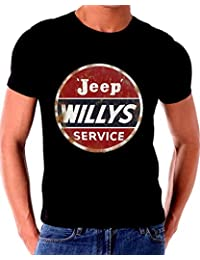 Old Tin Sign T Shirt Willys Jeep Service Distressed Sign