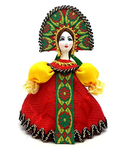 [CHRISTMAS Tree Ornament Russian Doll in traditional folk costume with porcelain hand painted face / Girl in a red dress] (Porcelain Doll Costumes)