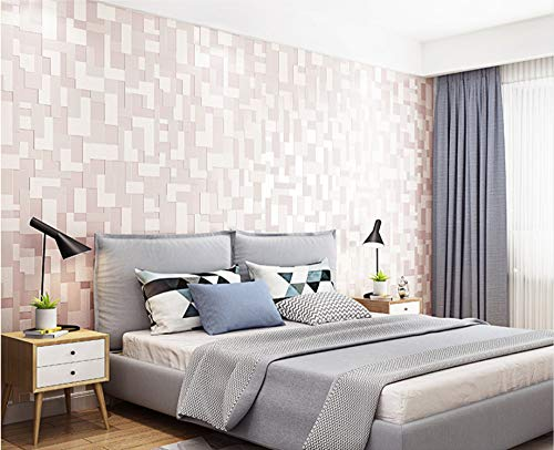 (Wallpaper Abstract Lattice-Light Pink Non-Woven Wallpaper for Living Room Tv Sofa Bedroom Wall Covering Background)