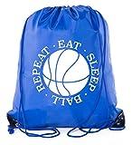 Mato & Hash Basketball Drawstring Favor Bags, Sports Bags, Goodie bags - 10PK Royal CA2500Basketball S6