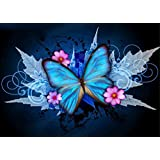 DIY 5D Diamond Painting by Number Kits, Full Drill Crystal Rhinestone Embroidery Pictures Arts Craft for Home Wall Decor Gift (Butterfly, 11.8x15.7inch)
