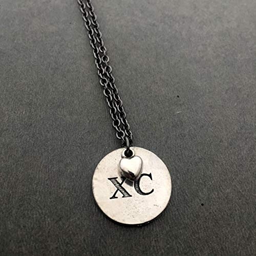 XC Love Cross Country Necklace - Pewter Heart and Pewter Round XC Charm on 18 inch Gunmetal Chain
