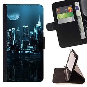 BullDog Case - FOR/Sony Xperia Z1 L39 / - / City Nighttime /- Monedero de cuero de la PU Llevar cubierta de la caja con el ID Credit Card Slots Flip funda de cuer