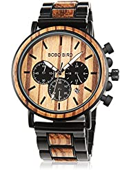 Mens Wooden Watch with Night Luminous Silver Needle 44MM Large Size Luxury Stylish Chronograph Sports Military...