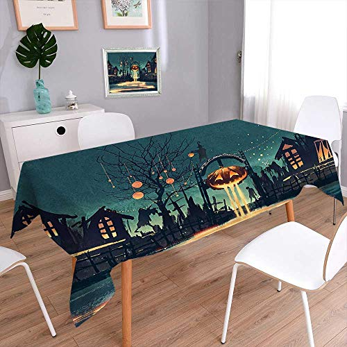 Jiahonghome Rectangular Polyester Linen Tablecloth House Decor Halloween Theme Night Pumpkin and Haunted House Ghost Town Artful Teal Wedding Birthday Baby Shower -