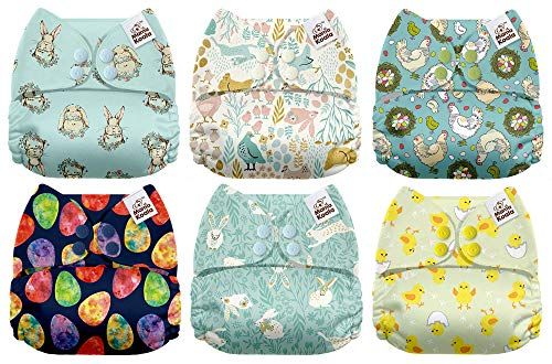 Mama Koala One Size Baby Washable Reusable Pocket Cloth Diapers, 6 Pack with 6 One Size Microfiber Inserts (Easter Morning)