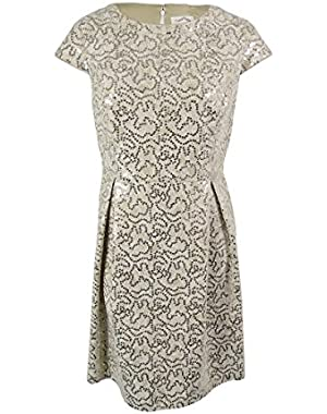 Womens Plus Lace Sequined Cocktail Dress