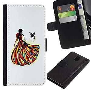 All Phone Most Case / Oferta Especial Cáscara Funda de cuero Monedero Cubierta de proteccion Caso / Wallet Case for Samsung Galaxy Note 3 III // Girl Bird Fashion Drawing