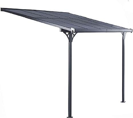 Gardiun KIS13008 - Pérgola de Pared Elliot - 8 m² 313x254x220/260 cm Aluminio y Policarbonato: Amazon.es: Jardín