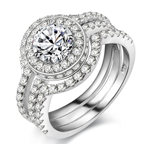 Newshe Wedding Band Engagement Ring Set for Women 925 Sterling Silver 5CT Round White Cz Size 5-10
