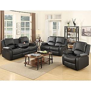 Amazoncom Holius 3piece Bonded Leather Recliner Sofa Sofa set