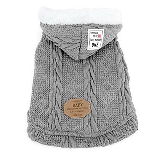 Zunea Pet Hooded Sweater Coat for Small Dog Cat Classic Puppy Fleece Lined Pullover Knitwear Winter Warm Chihuahua Clothes Apparel Gray ()