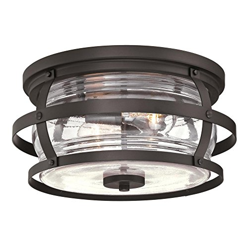 Westinghouse Lighting 6359500 Weatherby Two-Light Flush-Mount, Weathered Bronze Finish with Clear Glass Outdoor Ceiling Fixture, ()