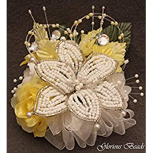 Corsage Pin on Yellow BEADED Lily with roses, beads, and rhinestones. Also sold with matching silk boutonniere. Other colors offered in my Amazon store 55