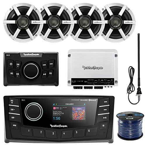 "Rockford PMX-5 Punch Marine Oversized 2.7"" DIN AM/FM Bluetooth Receiver Bundle Combo W/ Wired Remote Control + 4x Polk Audio 6.5"" Inch Speakers + Enrock Radio Antenna + 50Ft Wire (With Amplifier)"