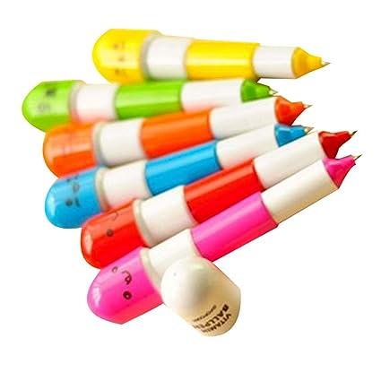 6 pcs vitamina Pill – Bolígrafo retráctil, Mini niños sonrisa Pill forma facial bolígrafo Micro