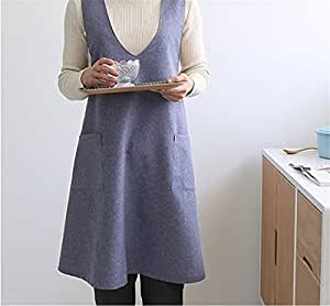 Katoot@ Chef Works Handmade Apron Japanese Style X Button Shape Denim Smock Natural Linen Apron-blue Color (Blue)
