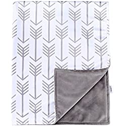 Towin Baby Arrow Minky Double Layer Receiving Blanket, Grey 30x40
