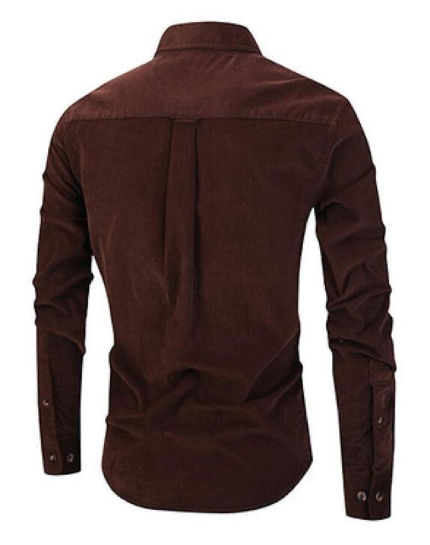 Suncolor8 Mens Corduroy Formal Slim Fit Plain Long Sleeve Button Up Dress Shirt