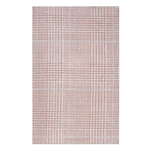 Rug Rose Cameo - Modway Kaja Abstract Plaid 8x10 Area Rug in Ivory, Cameo Rose and Light Blue