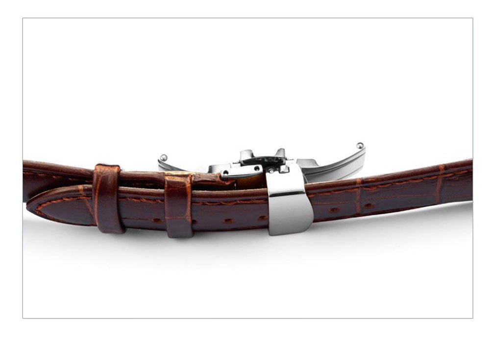 Watch Band Replacment For Men 22mm Calf Leather Watch Strap Deployant Clasp Butterfly Buckle-Brown by DaStrap (Image #3)