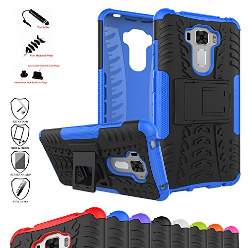 Rugged Pda Cases - Zenfone 3 Laser ZC551KL Case,Mama Mouth Shockproof Heavy Duty Combo Hybrid Rugged Dual Layer Grip Cover with Kickstand For ASUS Zenfone 3 Laser ZC551KL(With 4 in 1 Free Gift Packaged),Blue