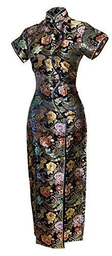 7Fairy Women's Sexy Black Ten Buttons Long Chinese Dress Cheongsam Size 8 US