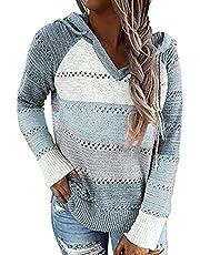 imrusan Women's Lightweight Color Block Knit Hoodies Sweaters Loose Long Sleeve V Neck Drawstring Pullover Sweatshirts, M-3XL